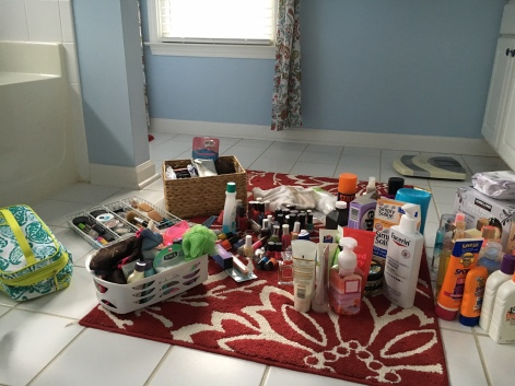 toiletries pile