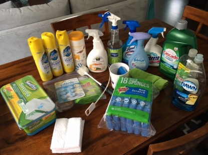 cleaning supplies pile